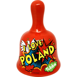 Bell shaped ceramic souvenir fridge magnet (BN) decorated with a high-temperature decal I love Poland