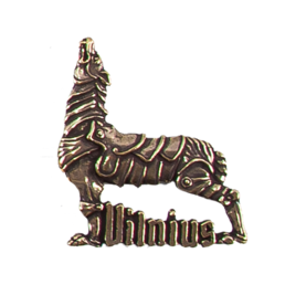 Hand-sculpted metal souvenir fridge magnet (MM) with monochrome plating options Vilnius The Iron Wolf