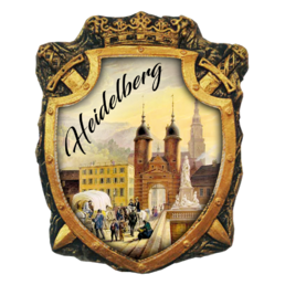 Printed polyresin souvenir fridge magnet (PP) with hand-painted elements Heidelberg