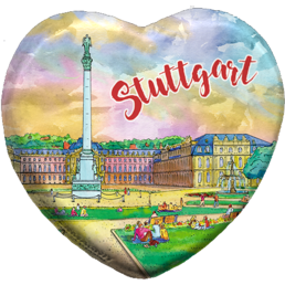 Printed polyresin magnet Heart (PP) watercolor Stuttgart New Palace